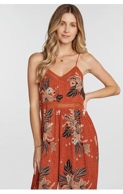 Rust Printed Tie Back Jumpsuit