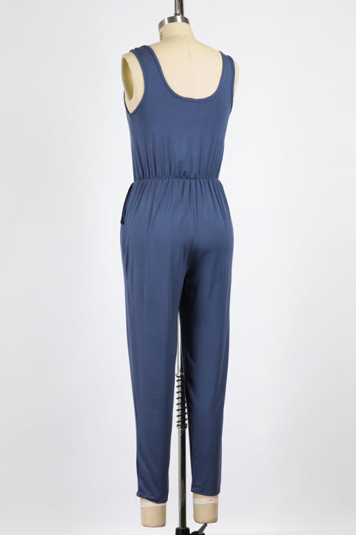 Surplice Sleeveless Jumpsuit