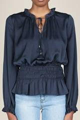 Navy rouched long sleeve blouse