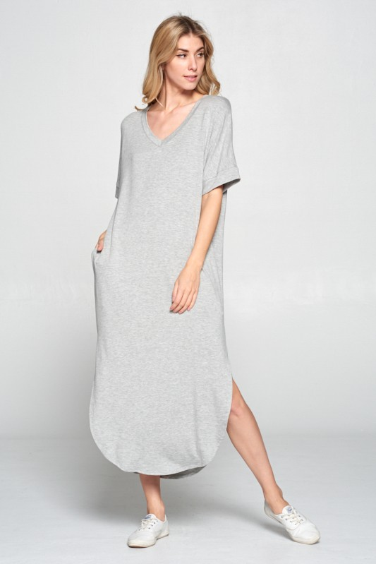 Grey V Neck Dress