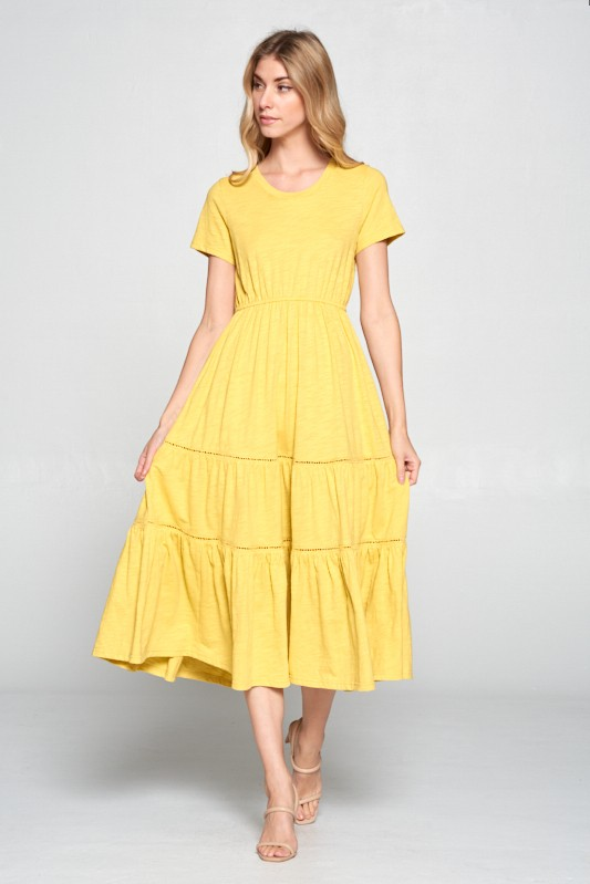 Yellow Tiered Midi
