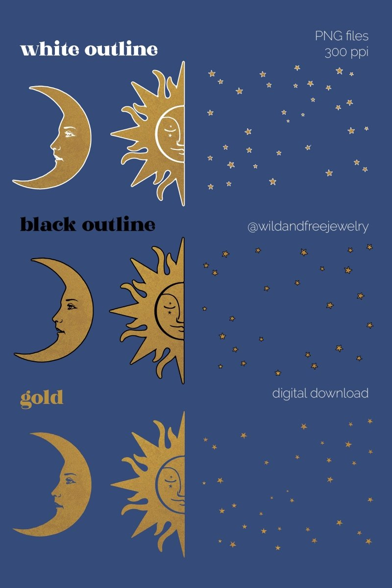 Digital Download | Gold Moon & Sun Celestial Art | PNG Files for Collage - Wild & Free Jewelry