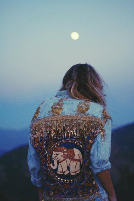 Embellished Elephant Denim Jacket | Made To Order - Wild & Free Jewelry