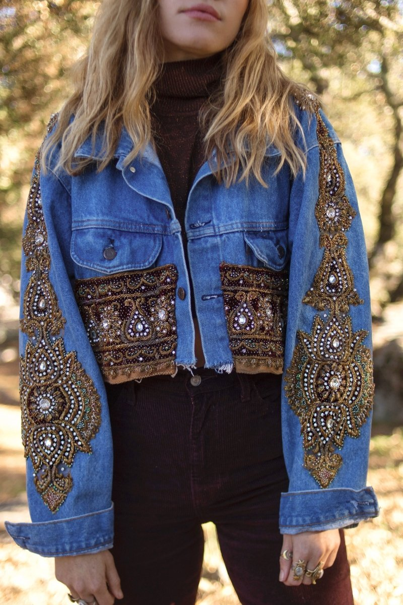 Embellished Indian Sari Denim Jacket | Size S/M - Wild & Free Jewelry