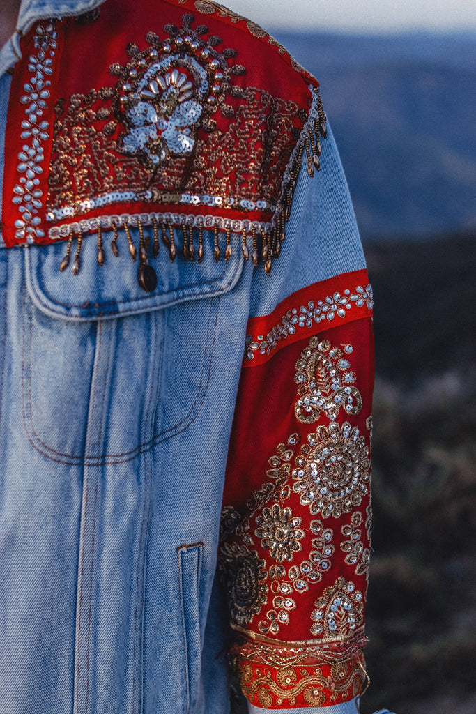 Indian Sari Embellished Elephant Jacket | Made to Order | Unisex