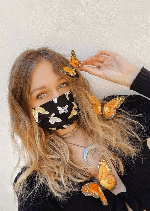 Metallic Butterfly Fabric Face Mask with Filter Pocket | Pre-Order - Wild & Free Jewelry