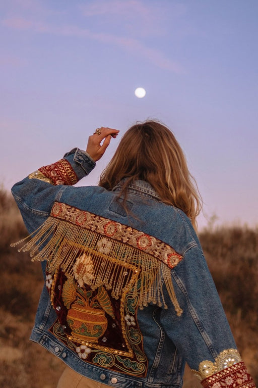 Sunflower Embellished Denim Jacket | Made to Order - Wild & Free Jewelry