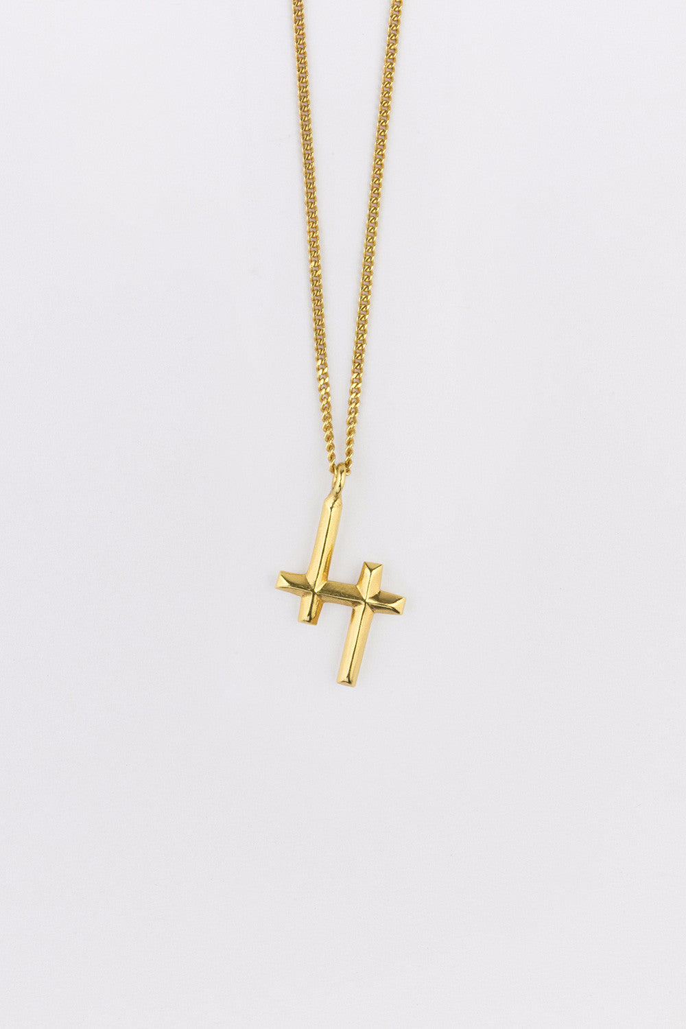 Double Cross Necklace Gold