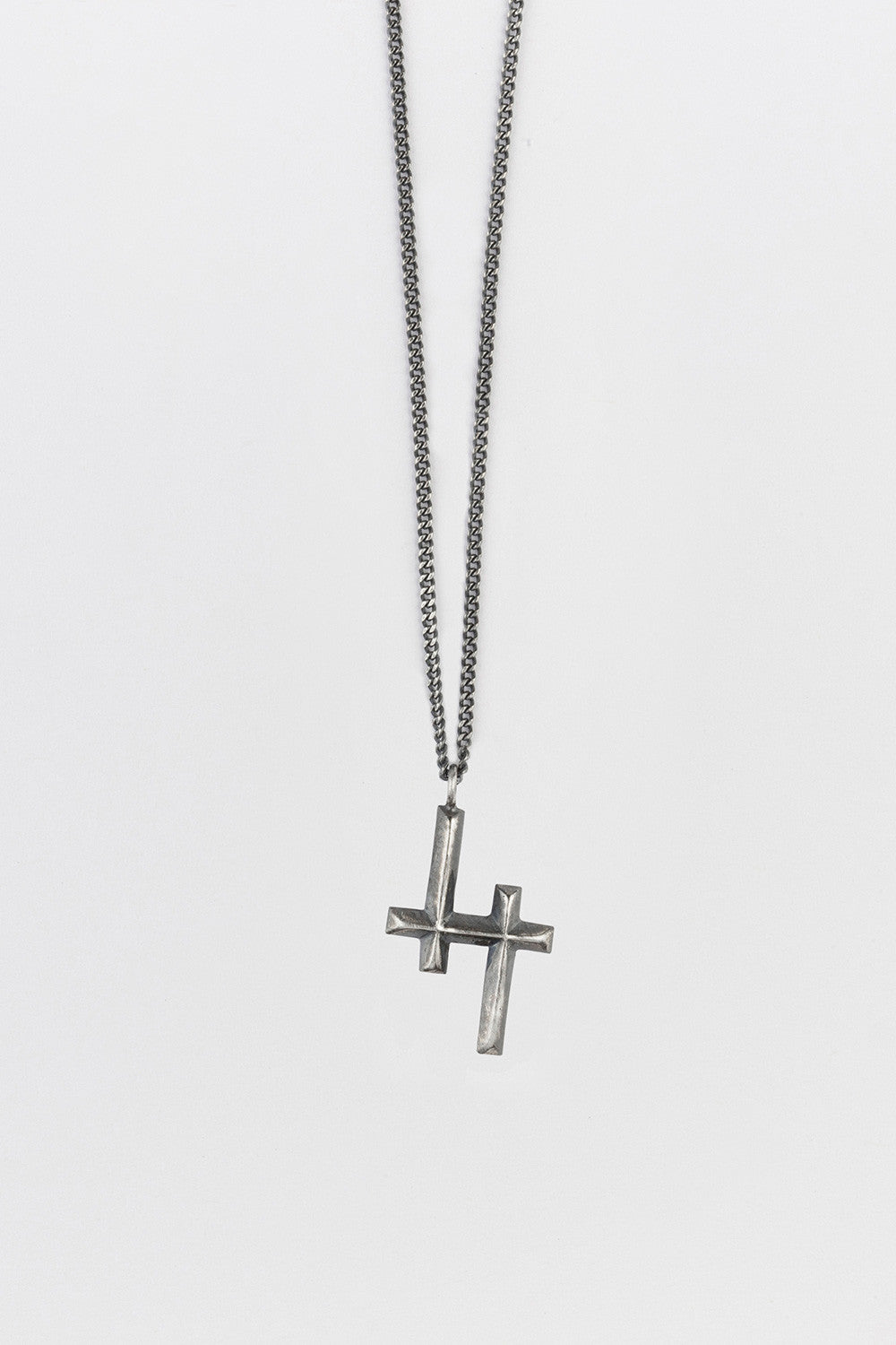 Double Cross Necklace Antique Silver