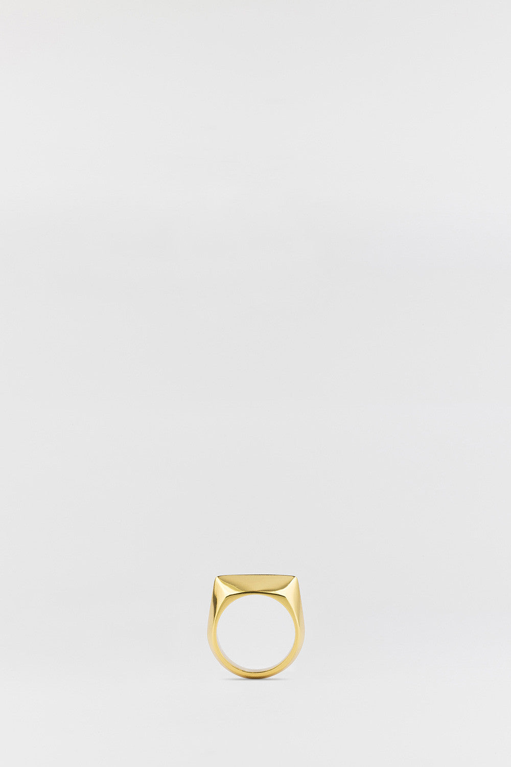 Flat Bevel Signet Ring Gold