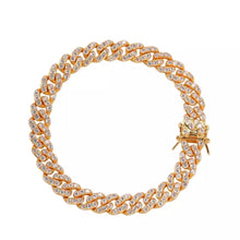 Load image into Gallery viewer, Gold crystal Cuban link anklet