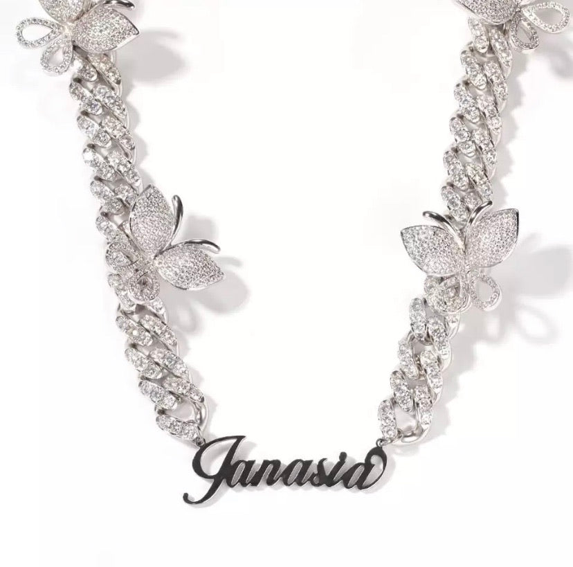 Customized name butterfly necklaces