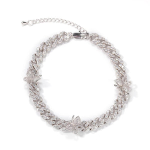 Cuban link silver butterfly anklet