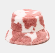 Load image into Gallery viewer, Cow print furry bucket hat