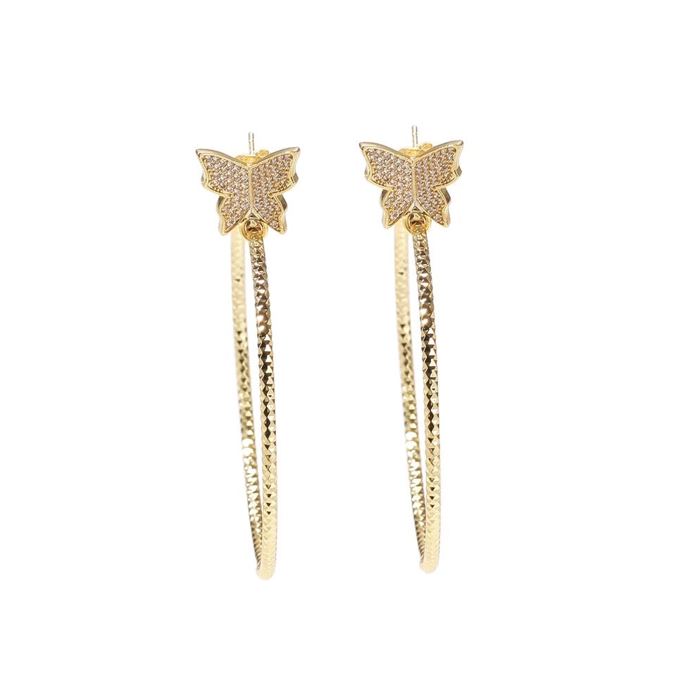 Gold tone Dainty Butterfly Hoops