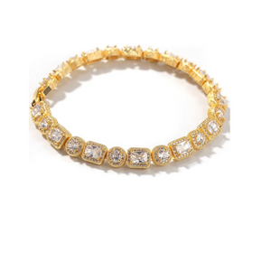 Crystal Gold tone Gemstone Bracelet