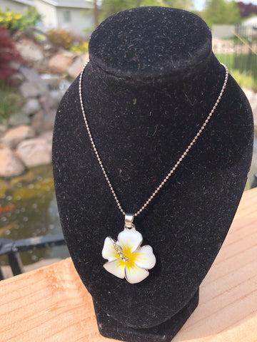 Silver Hibiscus Flower Pendant with Chain