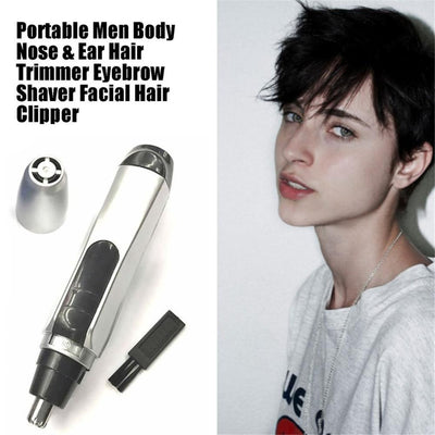 Portable Mini Men's Body Nose & Ear Hair Trimmer Nasal Cleaner Eyebrow Shaver Facial Hair Clipper Travel Supplies With Brush NEW