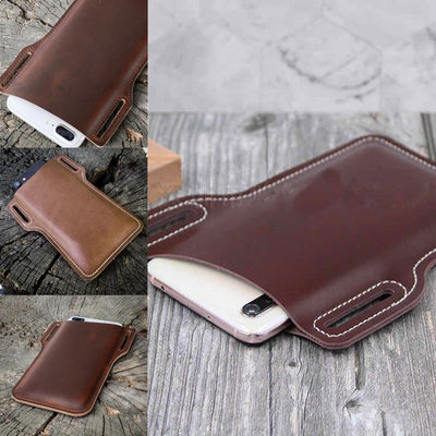 Luxurious leather phone waist belt support wallet