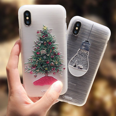 CASEIER Winter Phone Case For iPhone 11 Pro Max Lovely Emboss Soft TPU Cover For iPhone 7 8 Plus X SE 2020 Christmas Case Funda