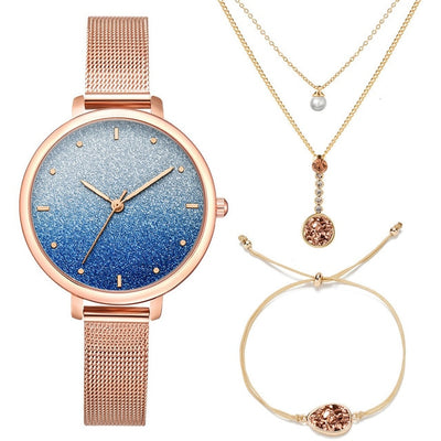 Stardust Watch Necklace Women with Bracelet Set (3 Pieces / Set) Stainless Steel Starry Quartz Watch