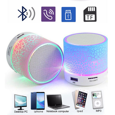 Mini Wireless Portable Bluetooth Speakers Crack LED USB Radio FM MP3 Stereo Sound Speaker For Computer Mobile Phone
