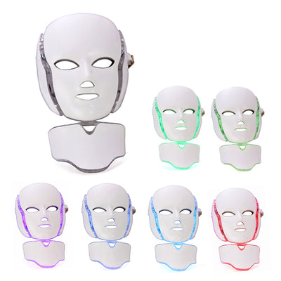 Face Instrument Facial Mask Photon Therapy 7 Color LED Neck Skin Rejuvenation Anti Acne Wrinkle Beauty Treatment Salon Home Care