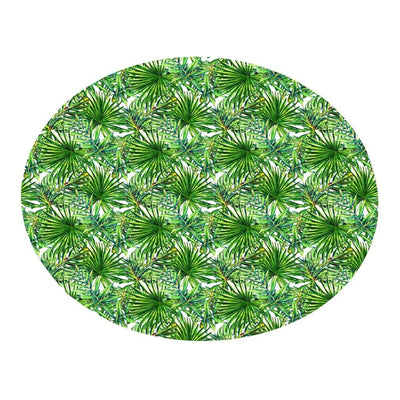 Geometric Round Carpet Fur Rug Tropical Plant leaves Pattern Round Flannel Bathroom Kitchen Carpet 80cm Alfombra Para Cocina