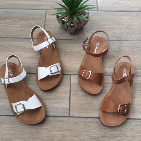 SYDNEY Sandals (White & Brown) 5, 6.5 & 7.5 LEFT