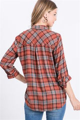 RYAN Plaid Button Up Top (Rust)
