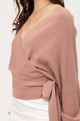 STACEY Tie Sweater (MAUVE) Sizes S-XL