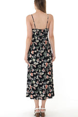 MARCIER POCKET Floral Dress (Black)