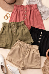 MARLO Button Shorts (KHAKI, OLIVE, MAUVE, BLACK) size LARGE Only