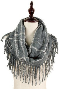 FREDA Fringe Scarf (Grey Plaid)