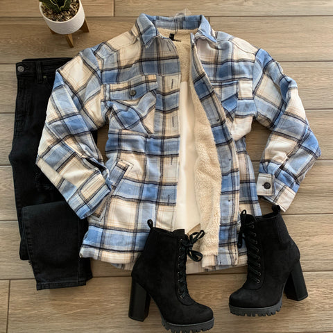 HANA Plaid Jacket (Blue) Sizes S-XL