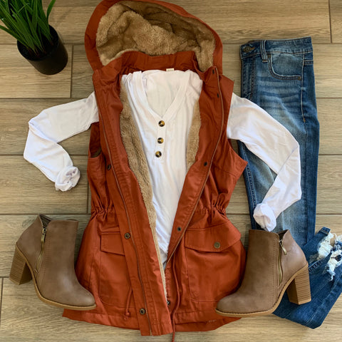 DONNY Drawstring Fur Vest (Rust) size LARGE Only