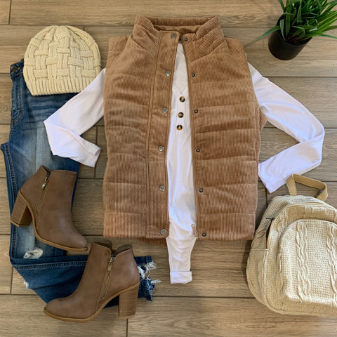 HENNESSY Corduroy Vest (Taupe) LARGE ONLY