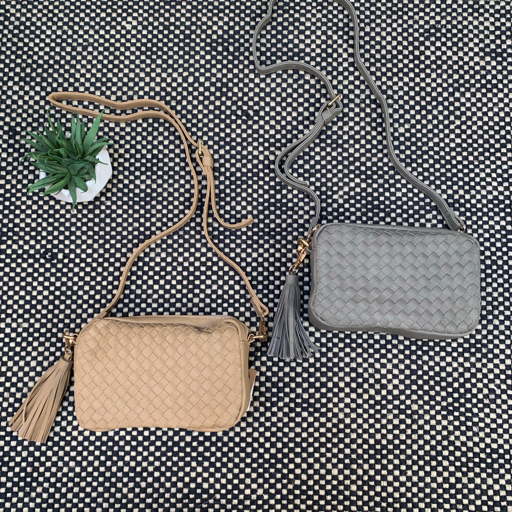 PU basket weave Bags (Grey Only)