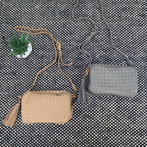 PU basket weave Bags (Taupe & Grey)