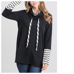 KATY Cowl Neck Top (Blk/wht stripes)
