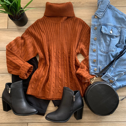 PENELOPE T Neck Sweater (Rust) LARGE ONLY