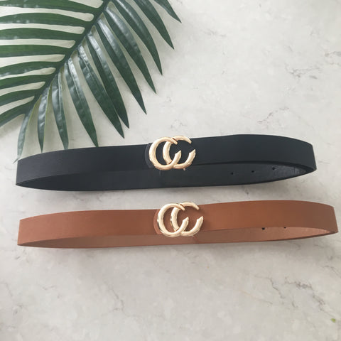 Cc Skinny Belts  (Tan & Black)