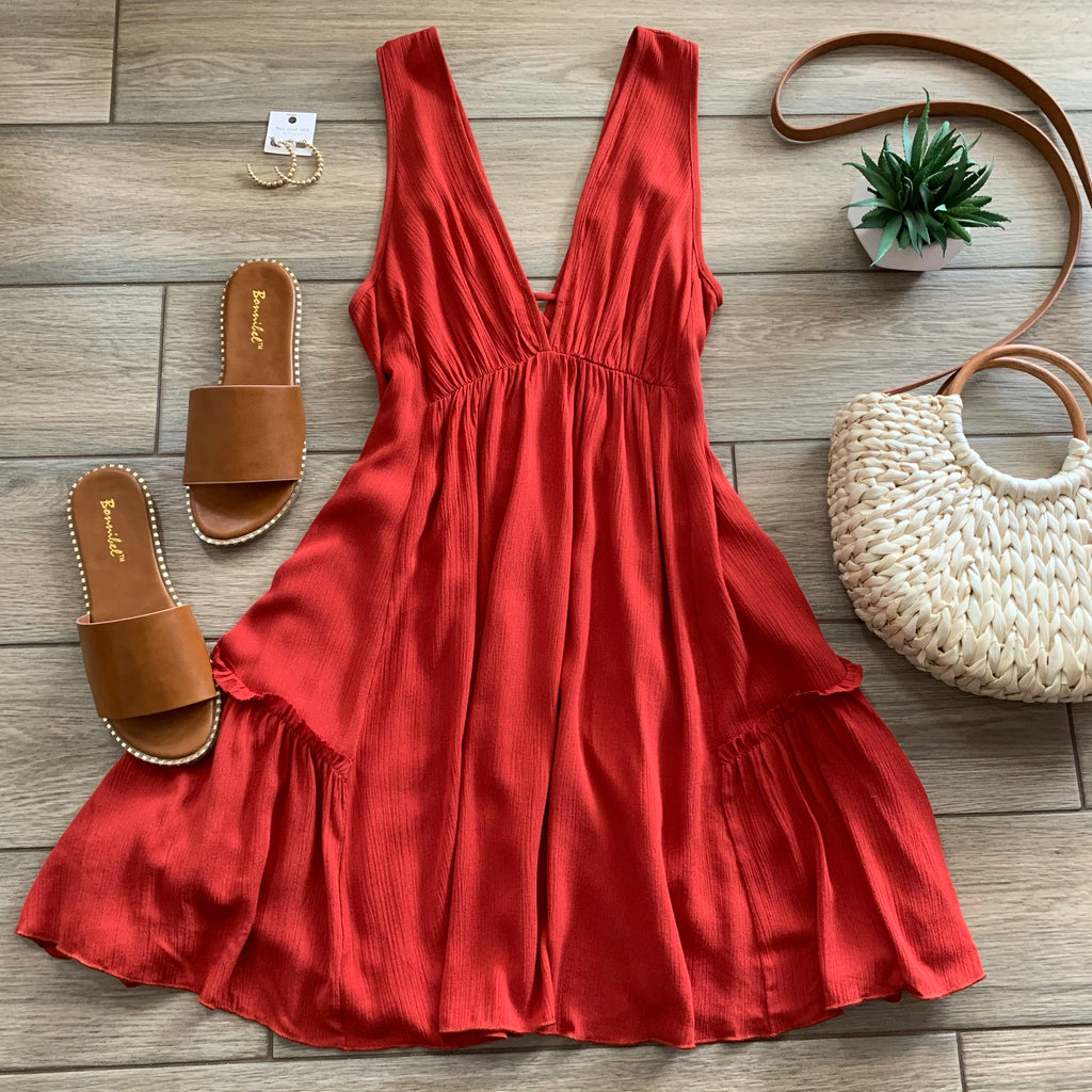 CAMILLE Dress (Brick) LARGE Only