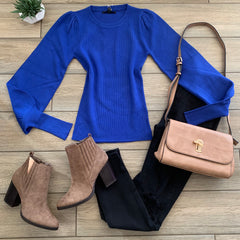 RAYLENE Bubble Slv Sweater (Royal) S-XL