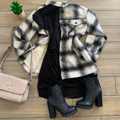 HANA Plaid Jacket (Black) Sizes S-XL