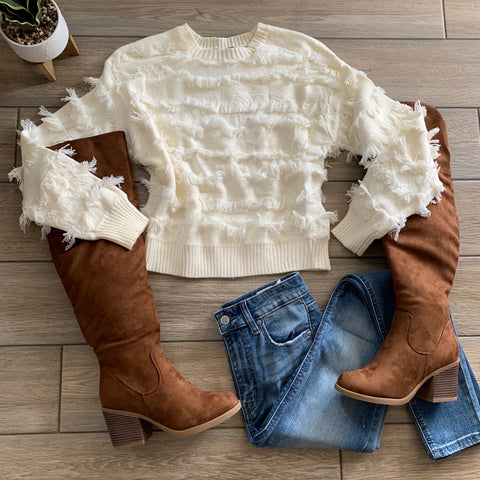 ERMA Plush Sweater (Ivory) Size XL only