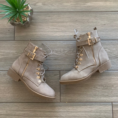 TANA Nude Buckle Boot