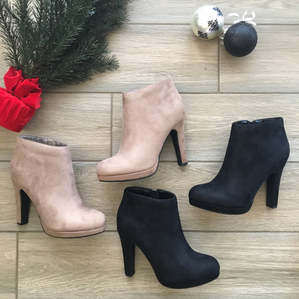 VIOLA Holiday Bootie (Black & Taupe)