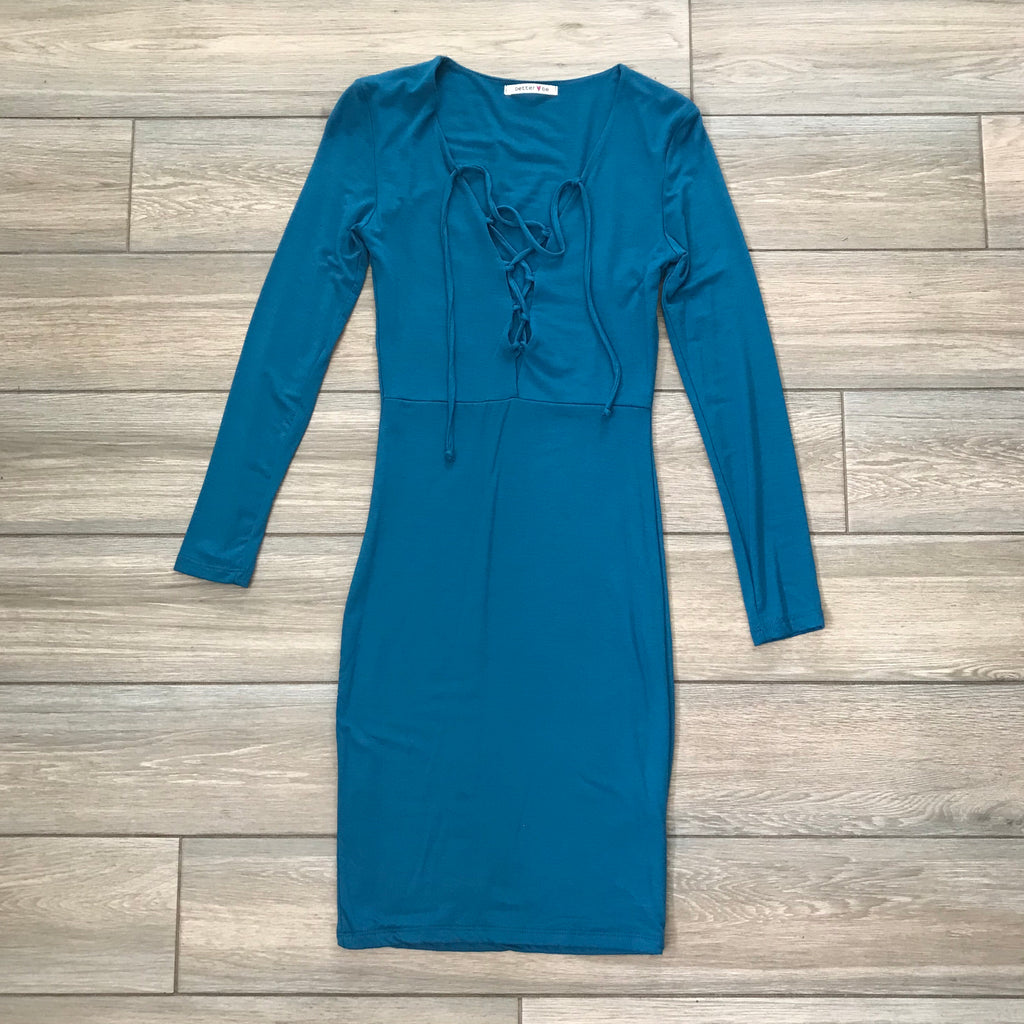 Lace Up Dress Teal (SMALL)