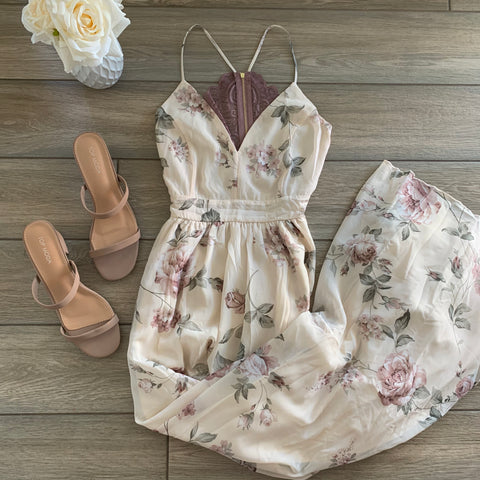 VERONICA Floral Maxi Dress (Mauve)